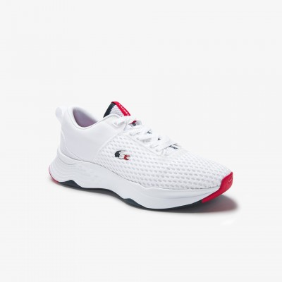 Men's Court-Drive Textured Textile Trainers White Navy & Red • 407 40SMA0101