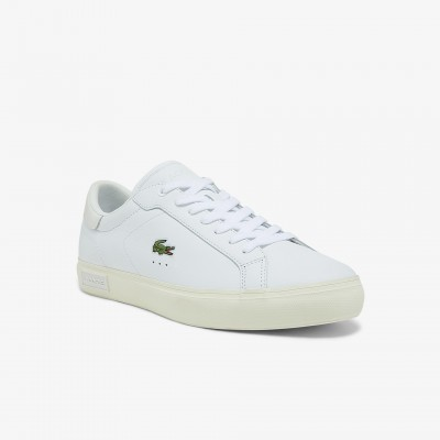 Men's Powercourt Smooth Leather Sneakers White & Off White • 65T Regular 41SMA0031
