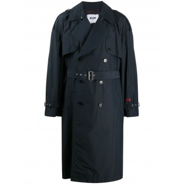 MSGM Women's slogan-embroidered trench coat On Line XCXP645