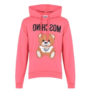 Mens MOSCHINO Teddy Oth Hoodie Pink A1211 Ships Free ORE3N597